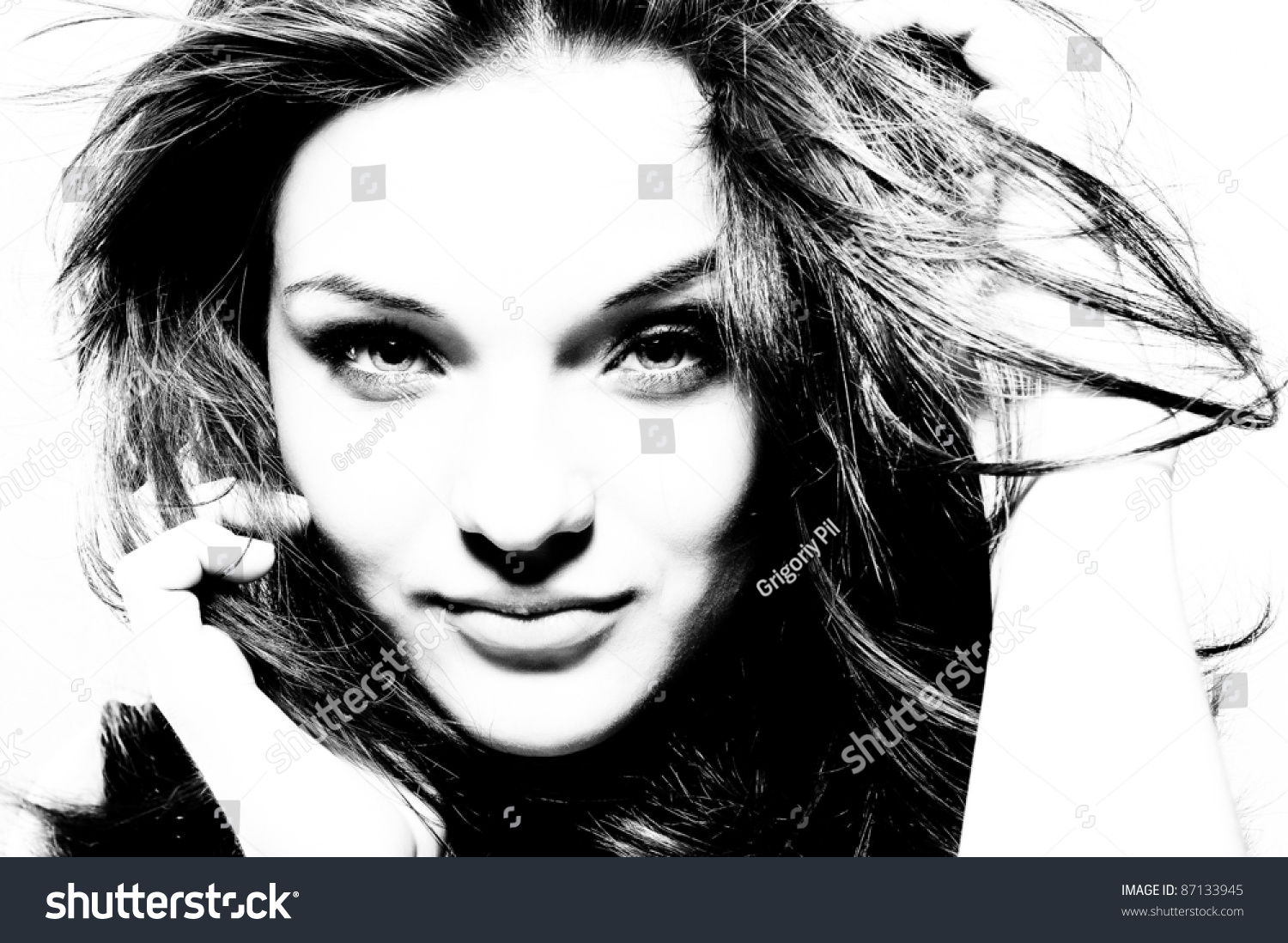 High Contrast Black White Portrait Beautiful Stock Photo ...