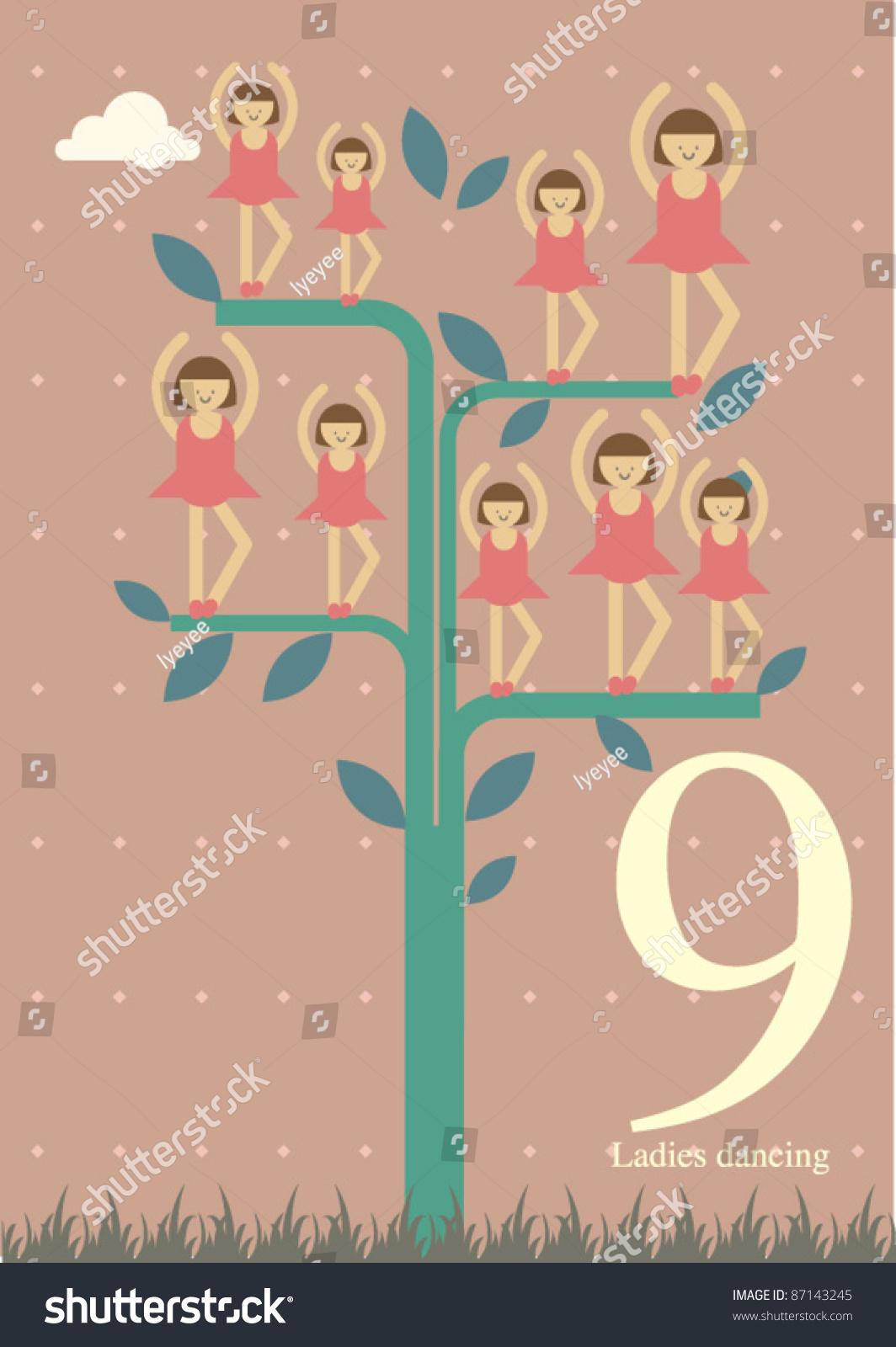 Twelve Days Christmas Ninth Day Christmas Stock Vector 87143245 ...