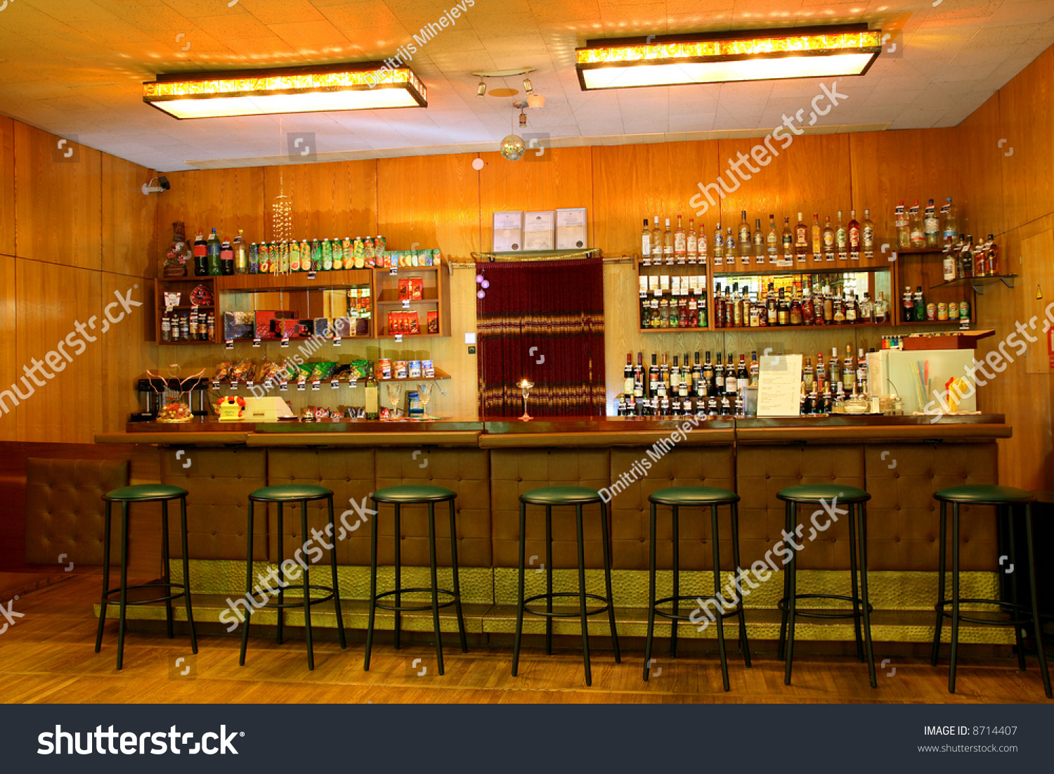 Classic Bar Counter Interior With Empty Seats