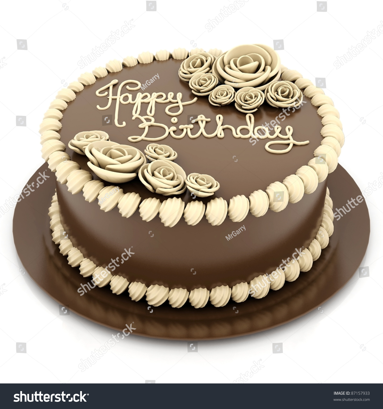 A Beautiful Cake On A White Background Stock Photo