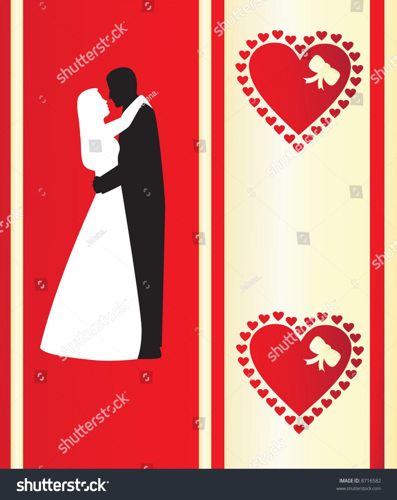 Silhouettes Wedding Couple Romantic Background Wedding Stock Vector ...