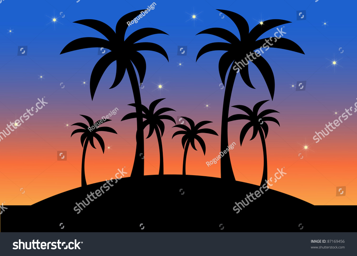 Clip Art Illustration Of The Silhouette Palm Trees On A Tropical Island At Sunset