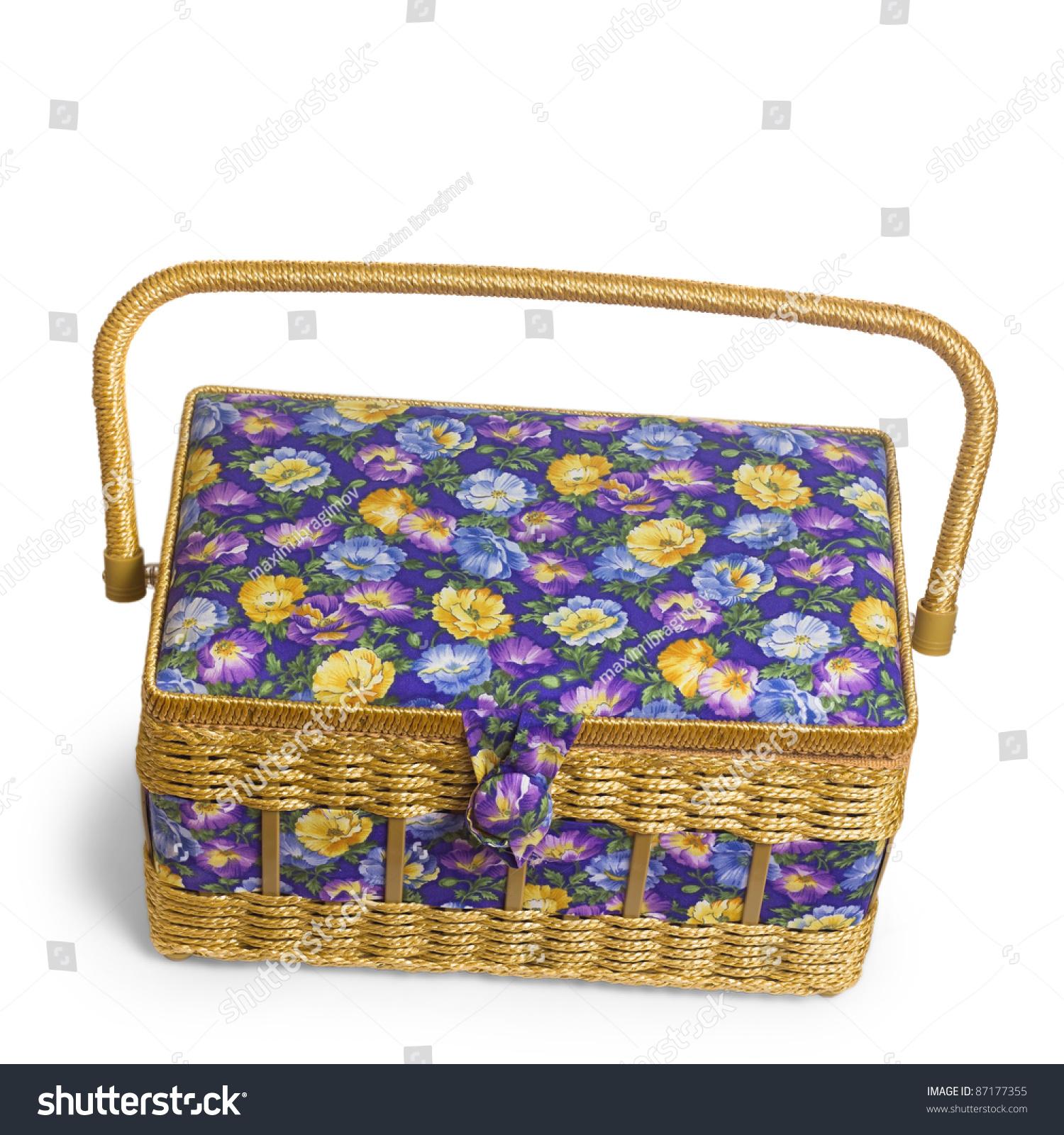 Woven Basket Casket : Vintage wicker basket casket isolated on stock photo