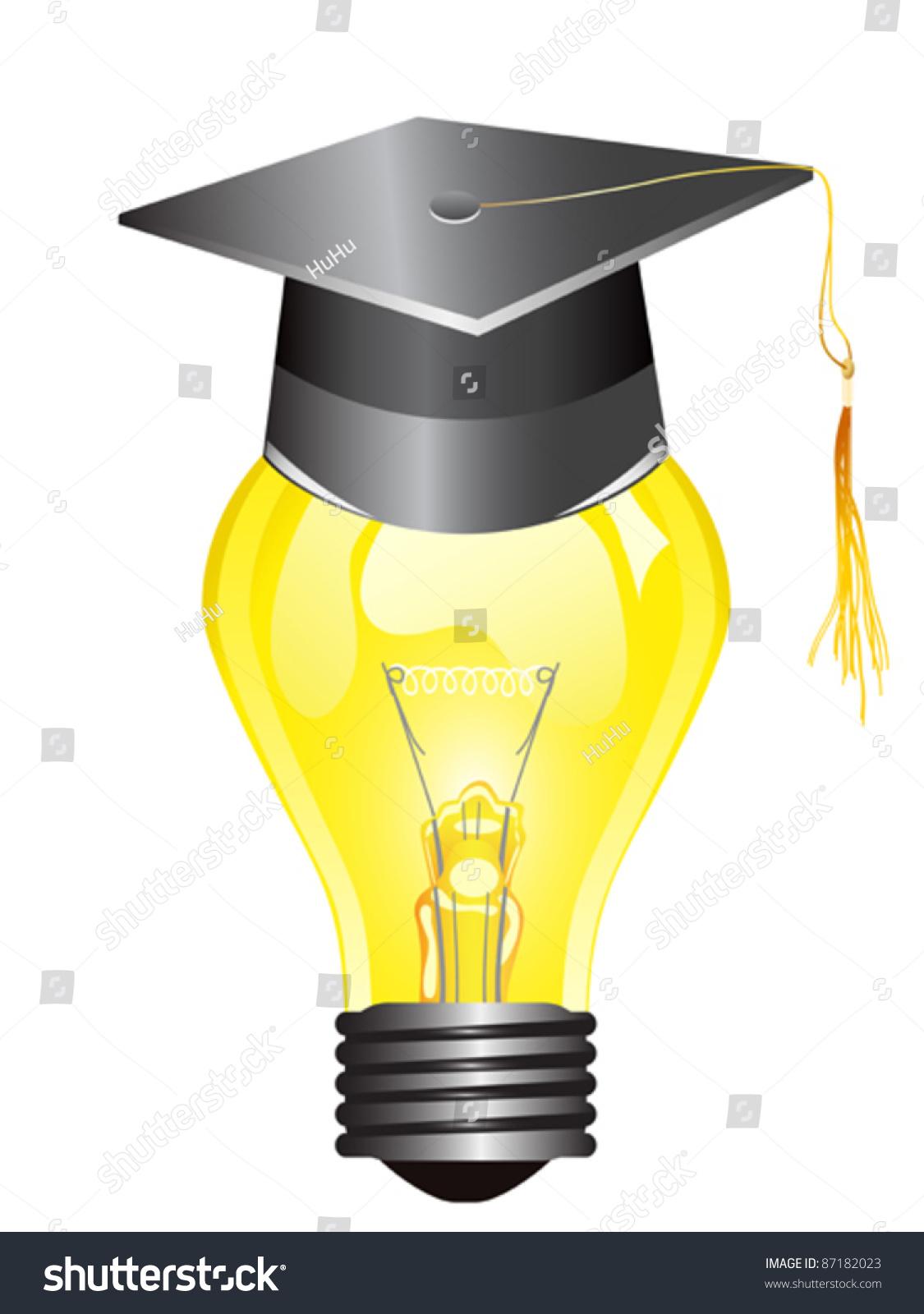smart light bulb with mortar board stock vector illustration 87182023 shutterstock. Black Bedroom Furniture Sets. Home Design Ideas