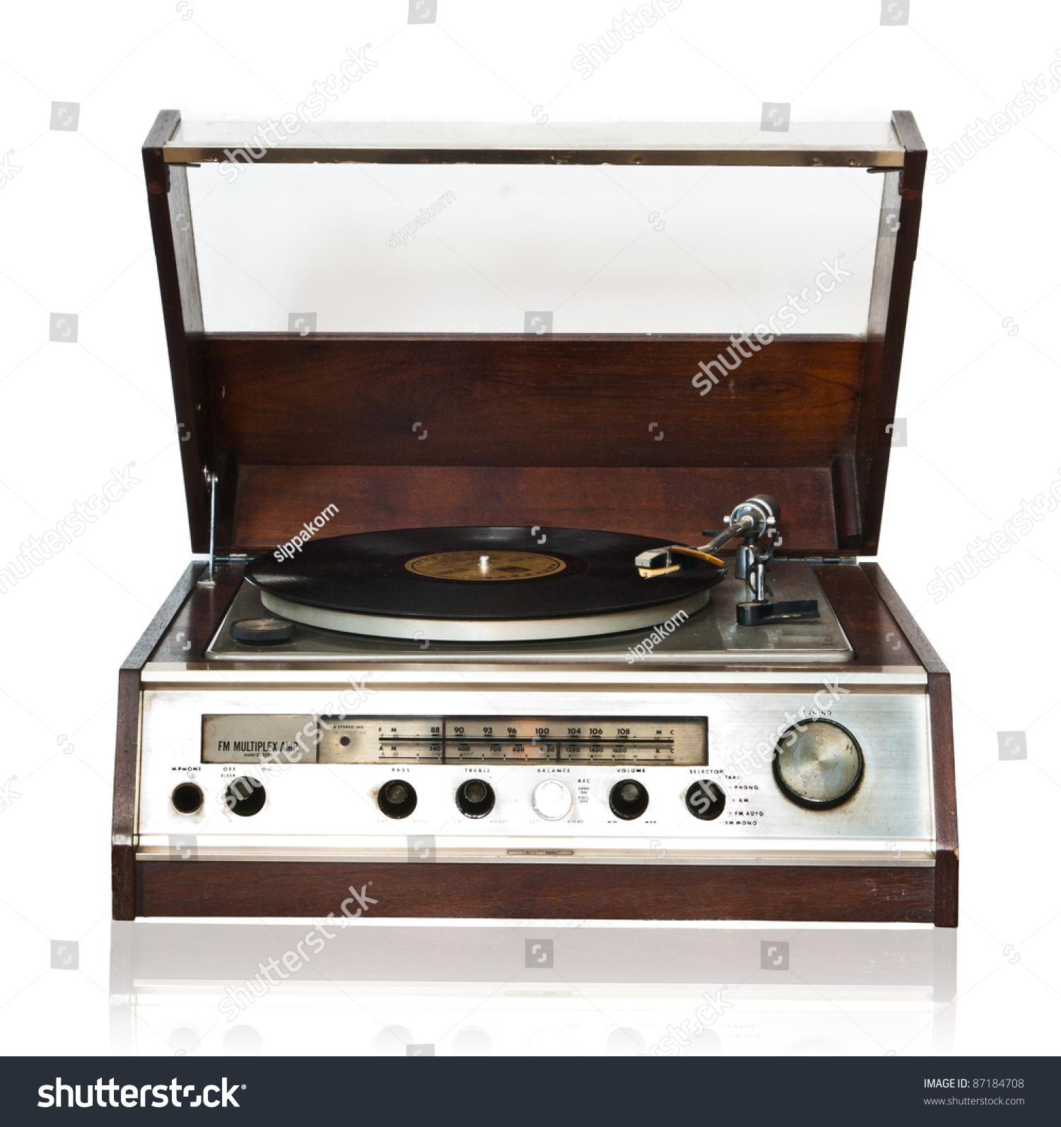 Vintage Record Player With Radio Tuner Isolated On White