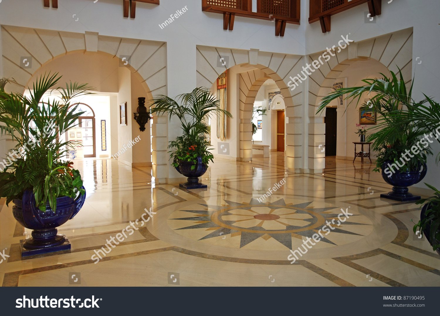 Grand Hotel Foyer : Grand foyer with marble floor in luxury hotel resort