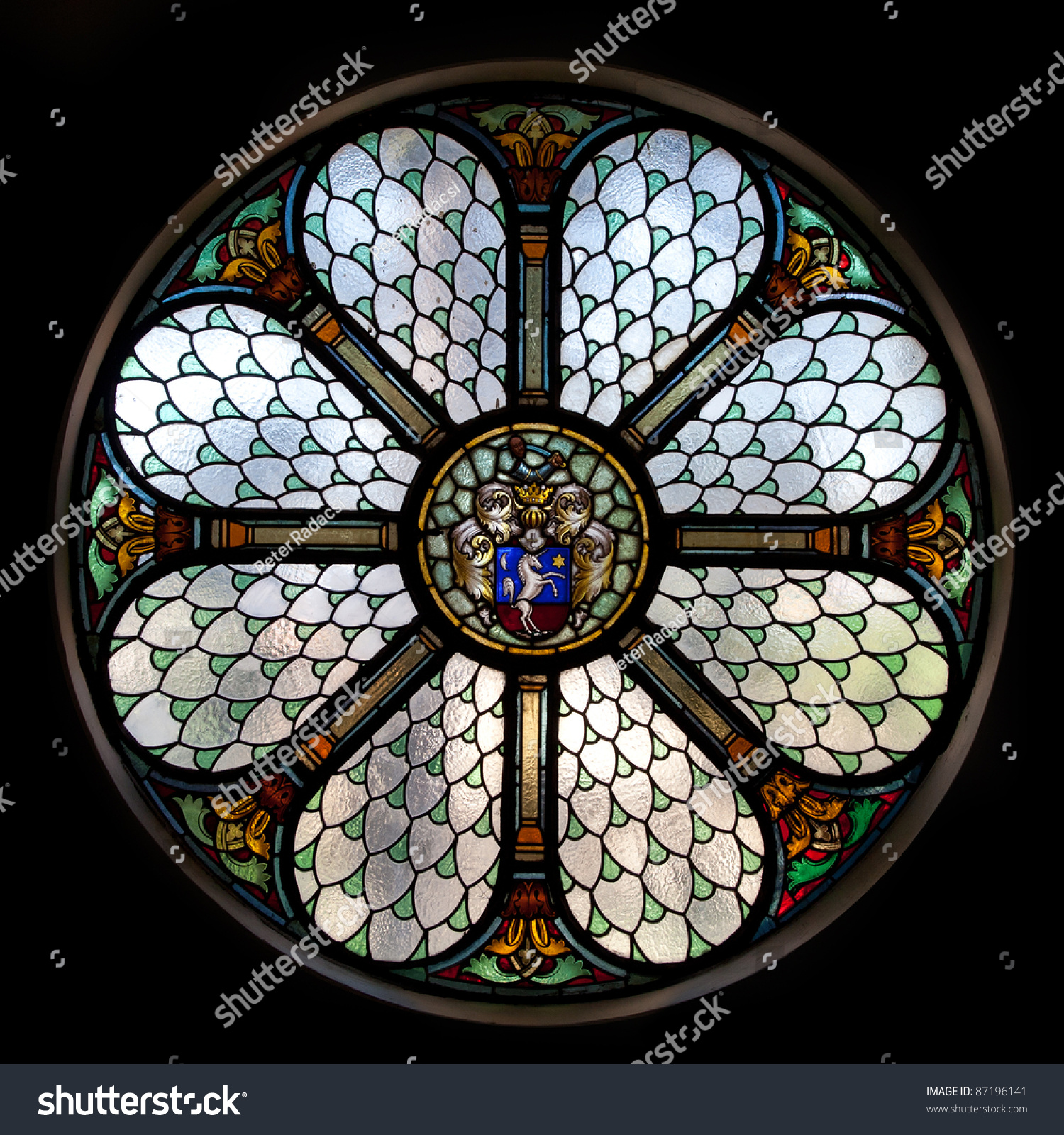Circle Shape Stained Glass Window Hungary Stock