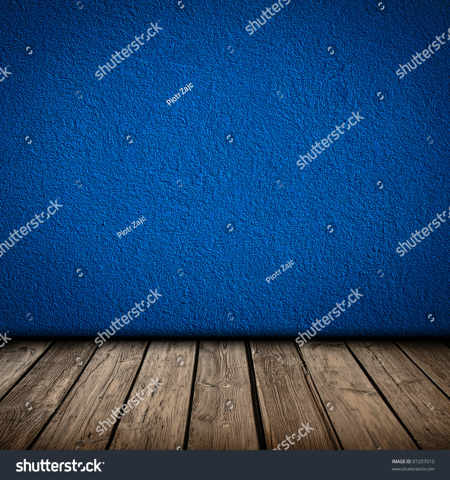 Blue Wall Wooden Floor Interior Background Stock Photo (Royalty Free ...