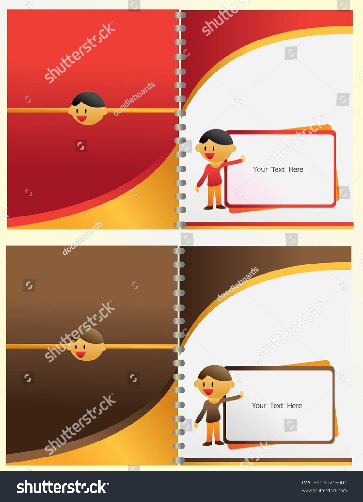 Book about color red - Vector Cover Book Layout Cartoon With Red Yellow And Brown Color Square Name