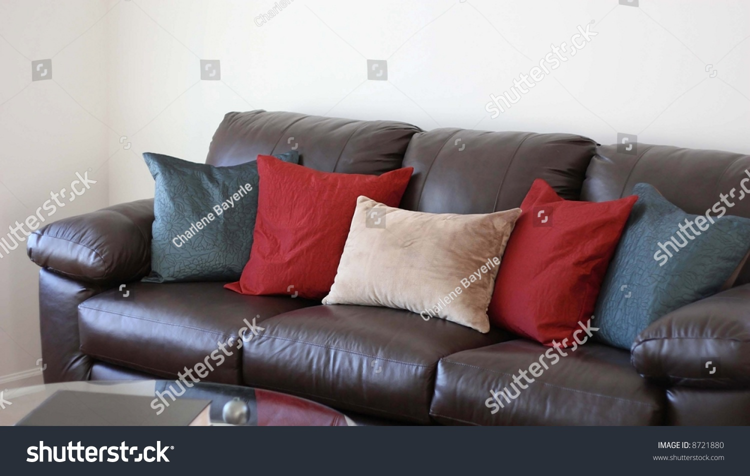 Picture of: Comfortable Brown Leather Couch Pillows Stock Photo Edit Now 8721880