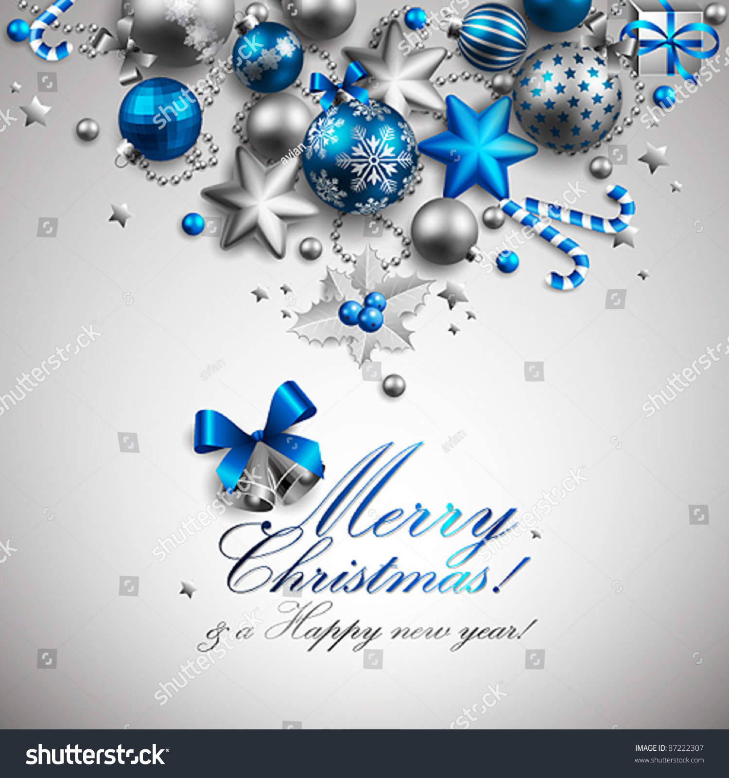 Beautiful Blue Silver Christmas Background Vector Stock Vector ...