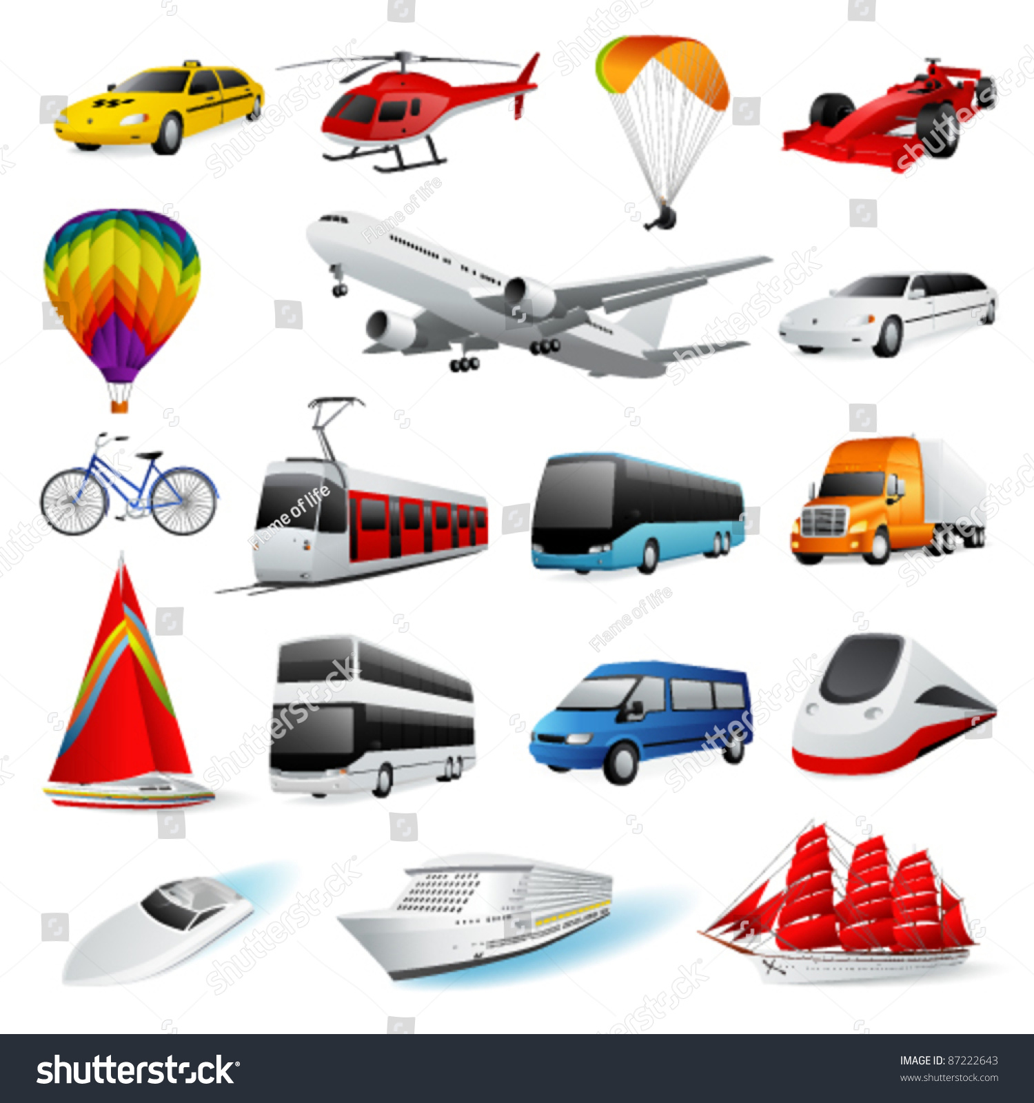 Vector Set Transport 87222643 on cartoon animals theme