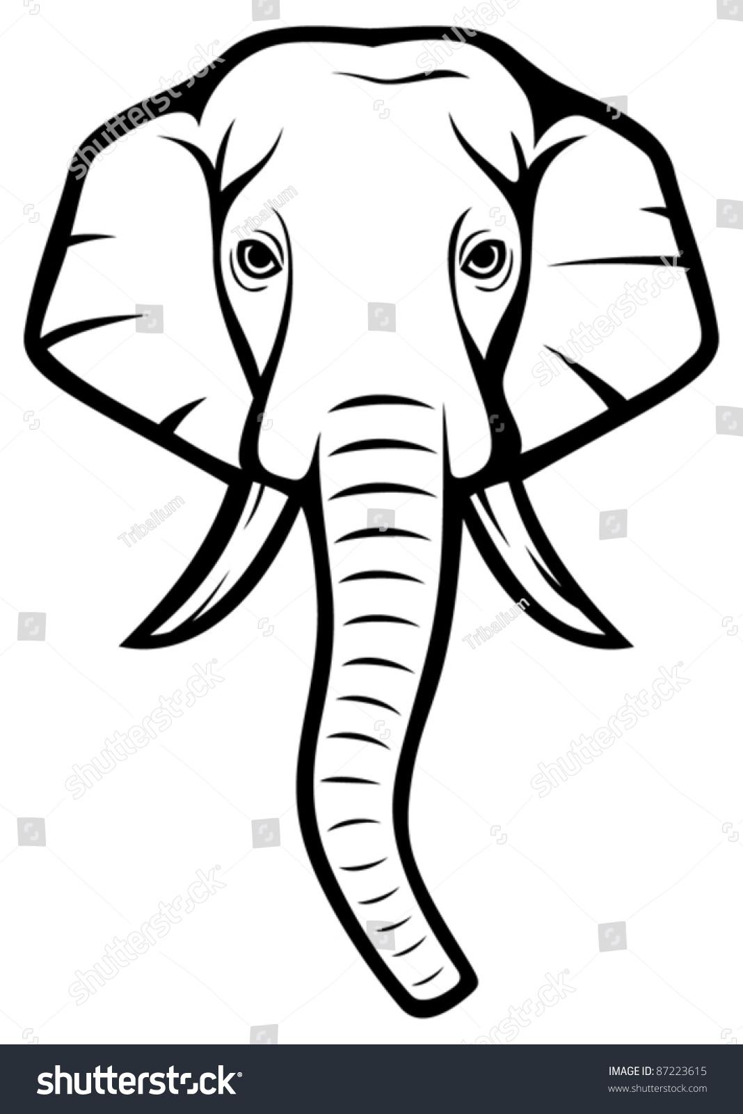Indian Elephant Head Stock Vector 87223615