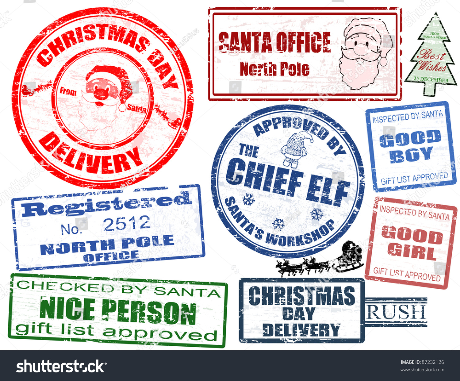 Set isolated grunge christmas stamps on stock vector