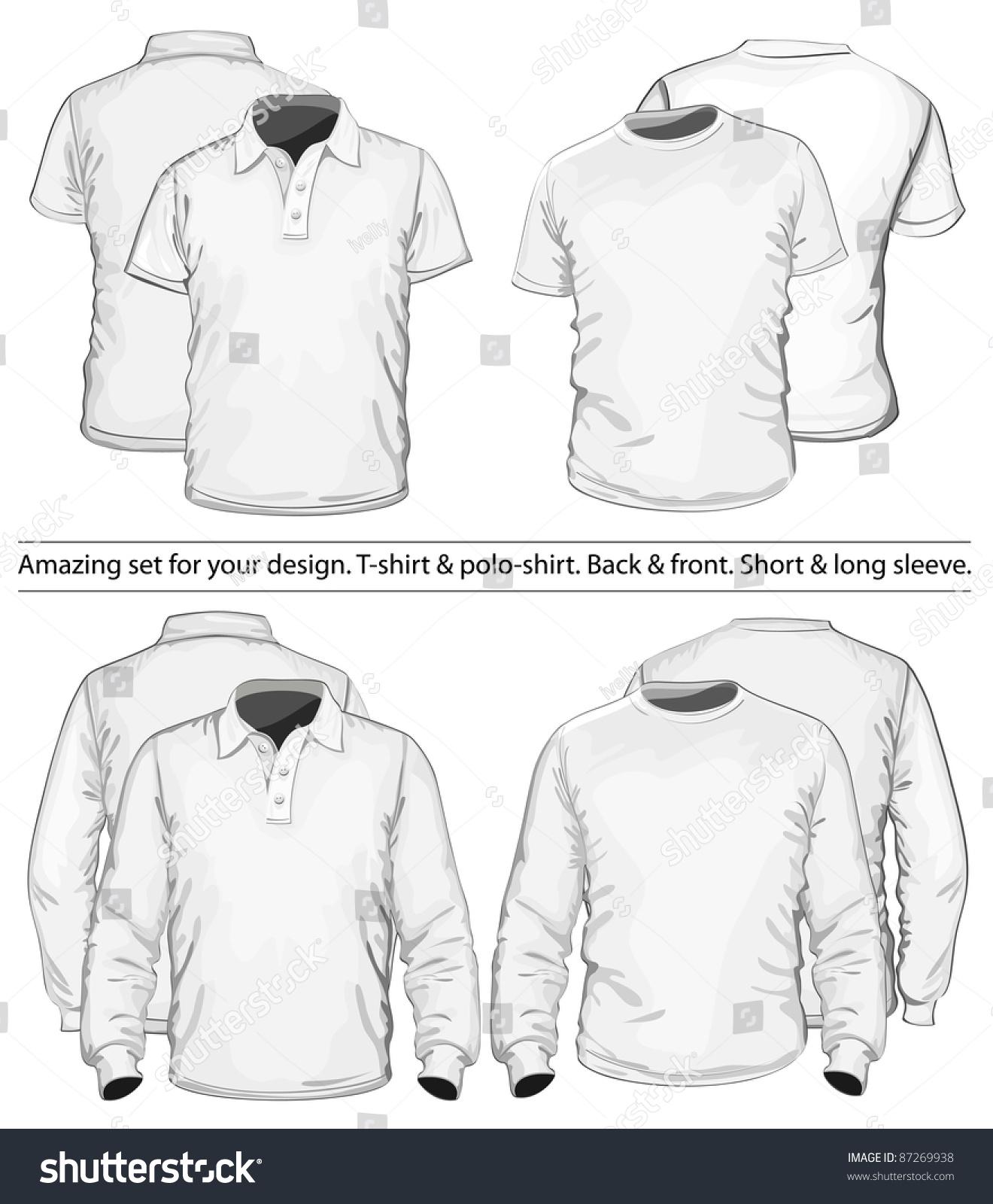 Shirt design vector pack - Amazing Vector Set Men S Polo Shirt And T Shirt Design Template Front