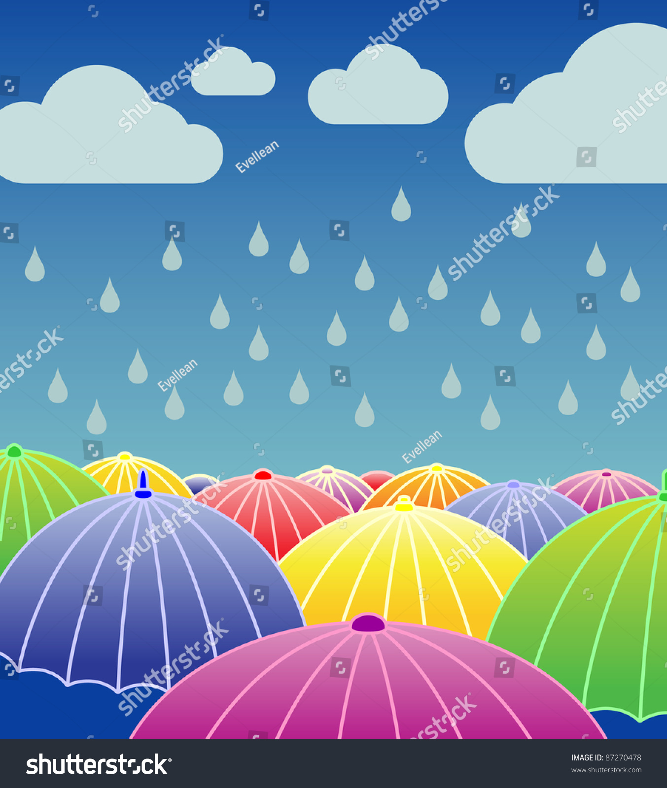 Rainy Day Wallpaper: Rainy Day Background Open Colourful Umbrellas Stock Vector