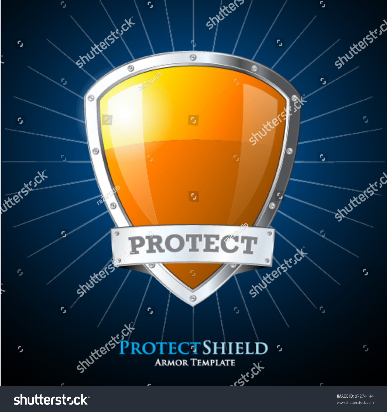 protect orange shield on blue background stock vector