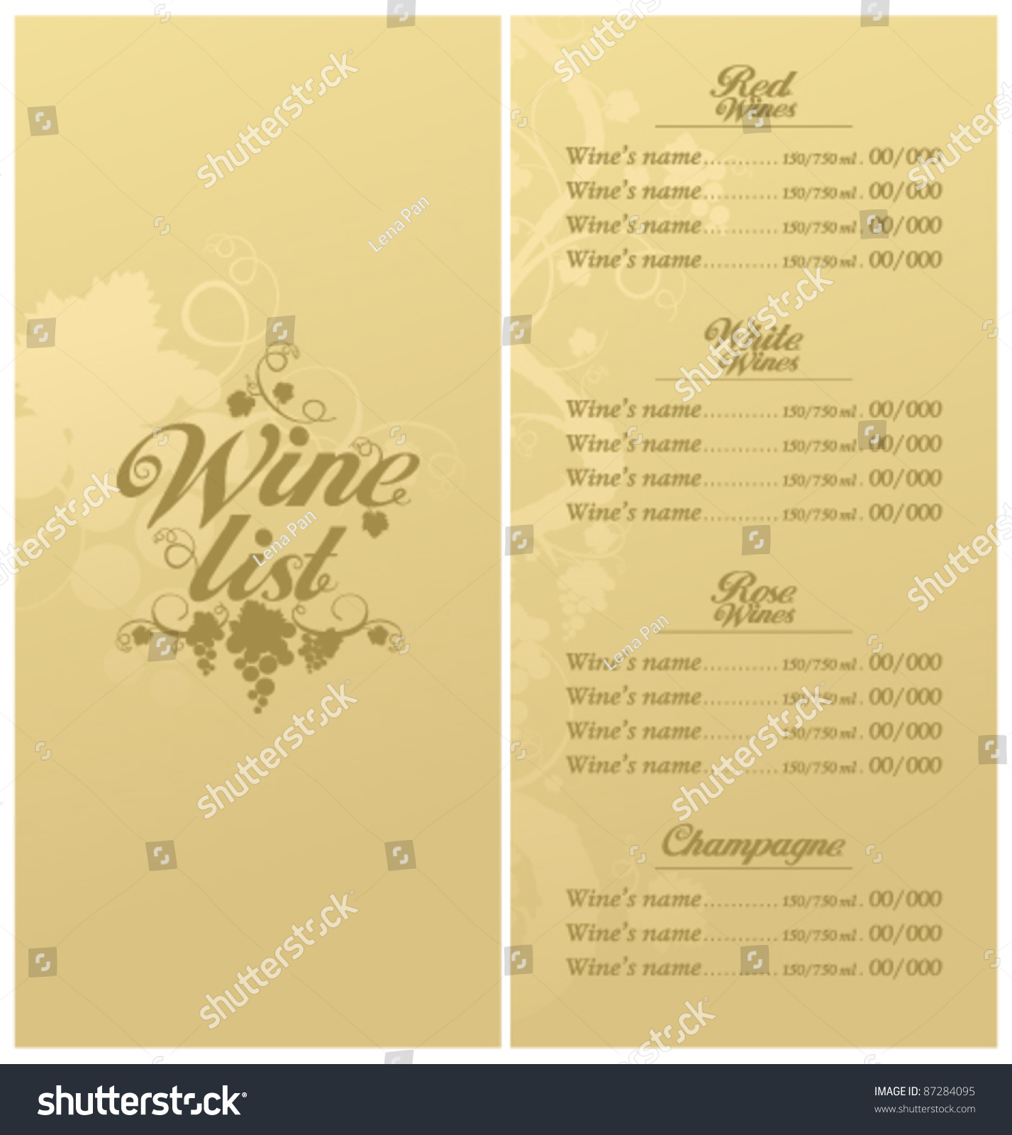 wine list menu card design template stock vector 87284095 shutterstock. Black Bedroom Furniture Sets. Home Design Ideas