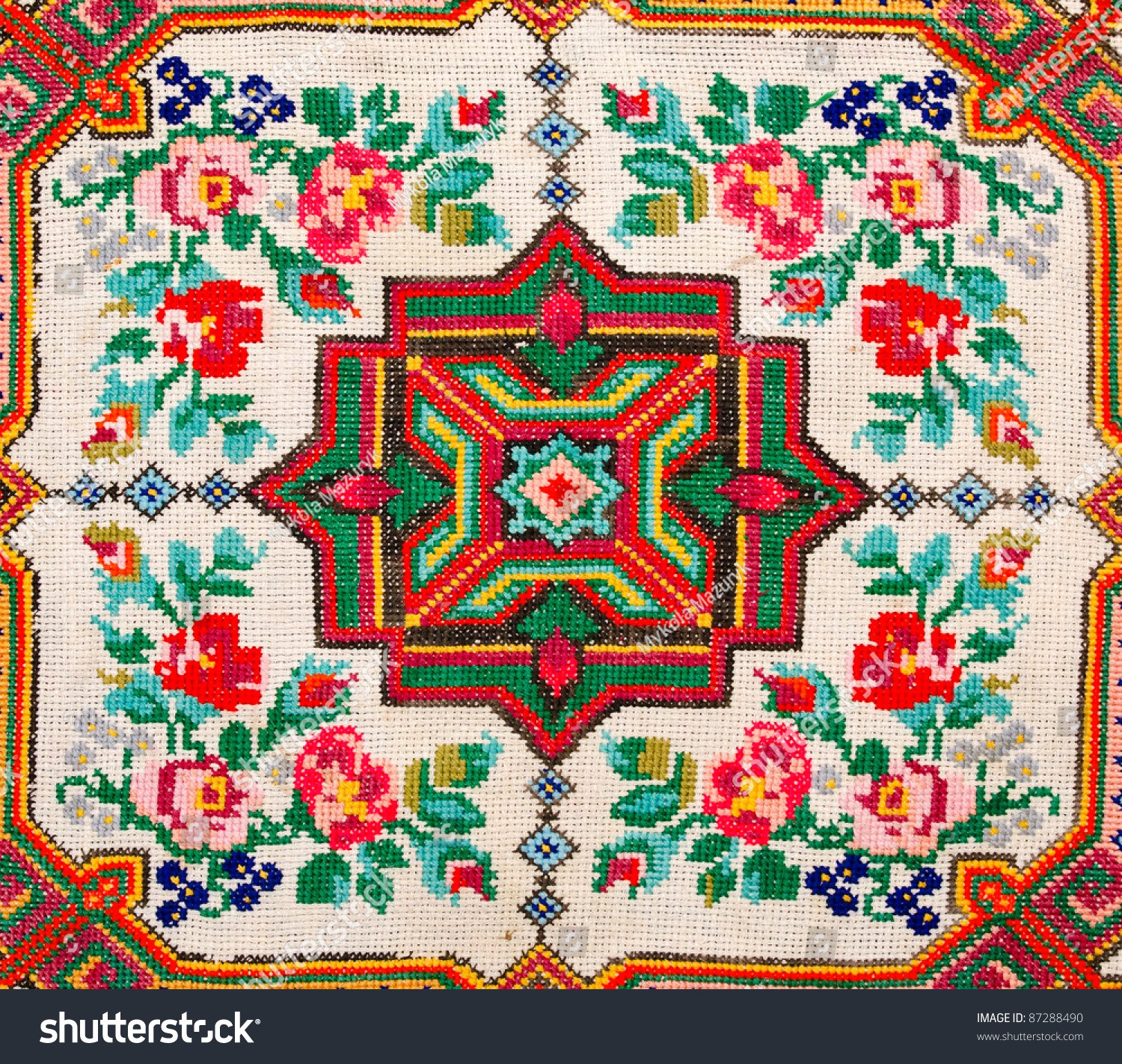 Embroidered good by cross stitch pattern ukrainian ethnic