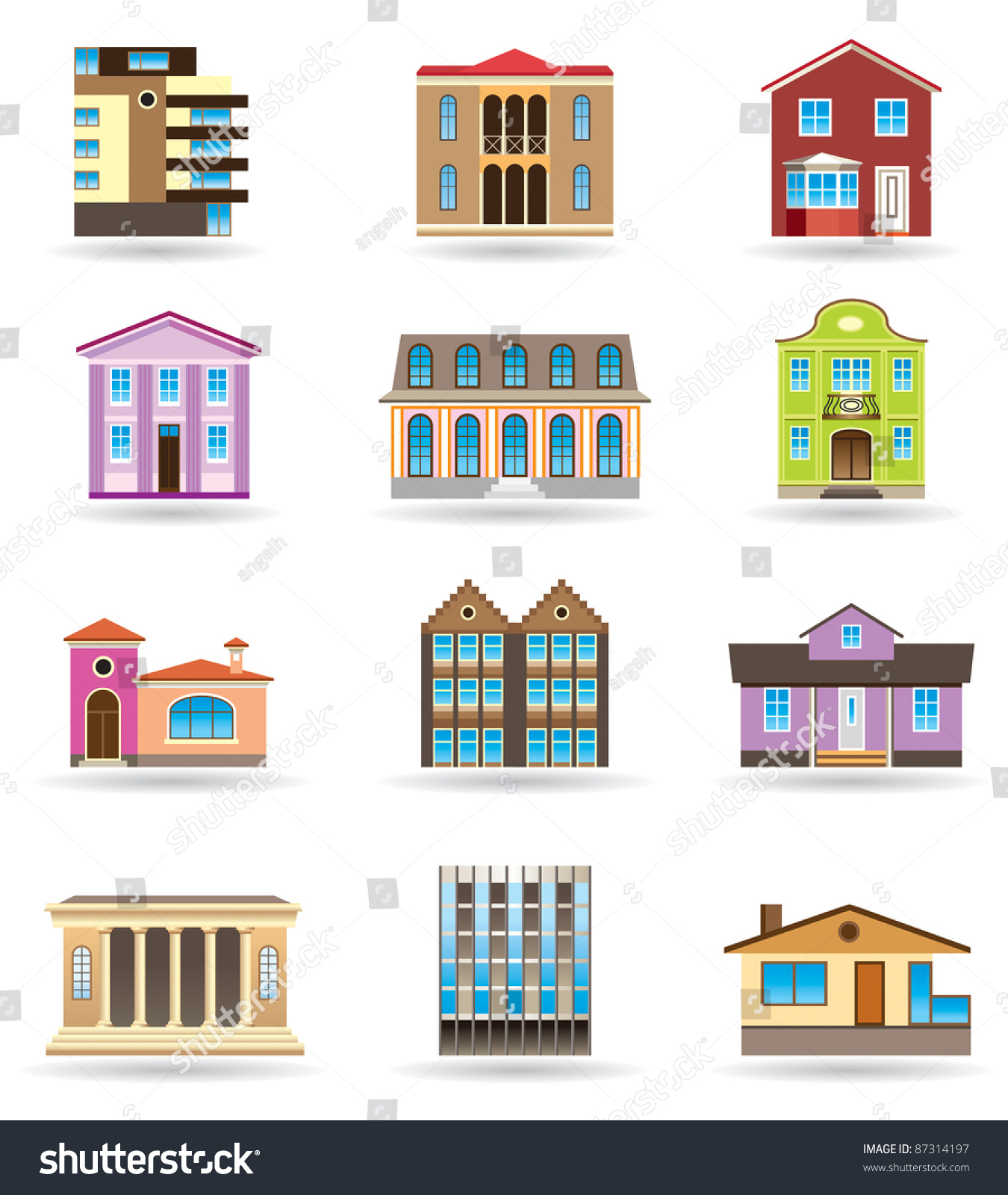 Enjoyable Buildings Houses Different Architectural Styles Vector Stock Largest Home Design Picture Inspirations Pitcheantrous