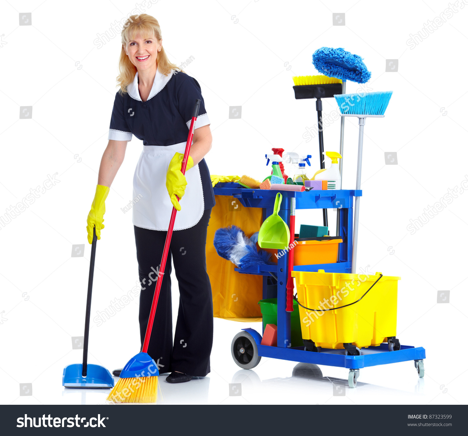 Cleaner Maid Woman Janitor Cart Isolated Stock Photo