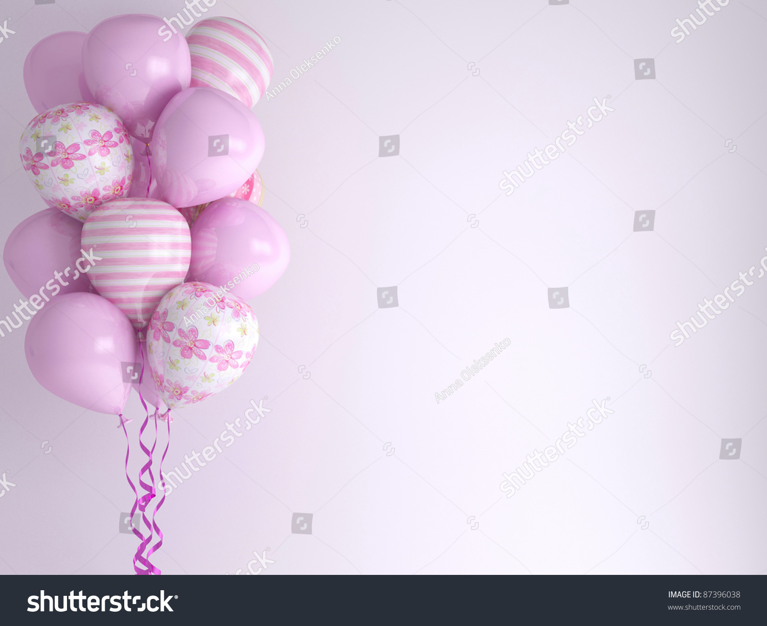 Pink Balloons Background Celebration Concept 3d Stock