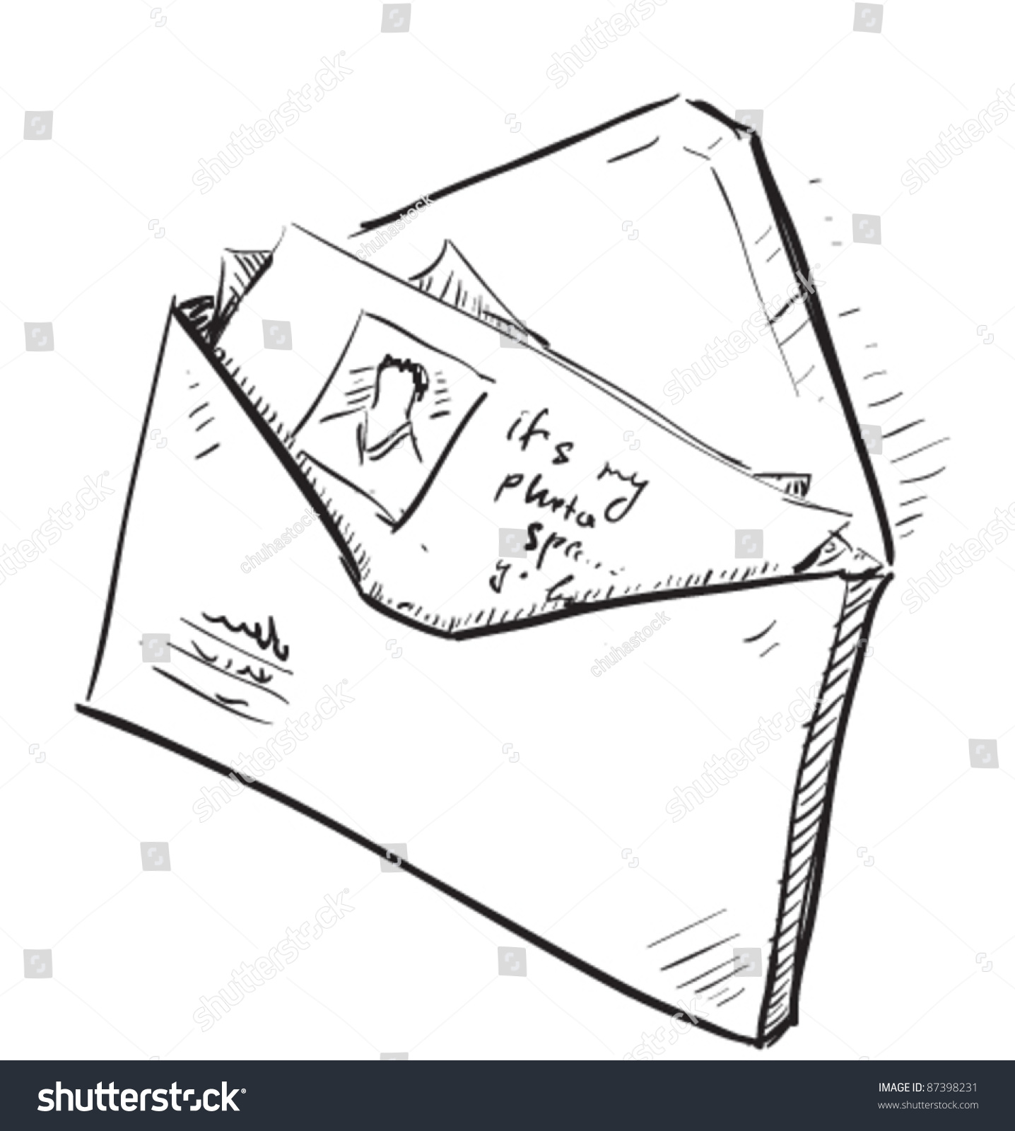 Letter s Envelope Cartoon Icon Sketch Stock Vector