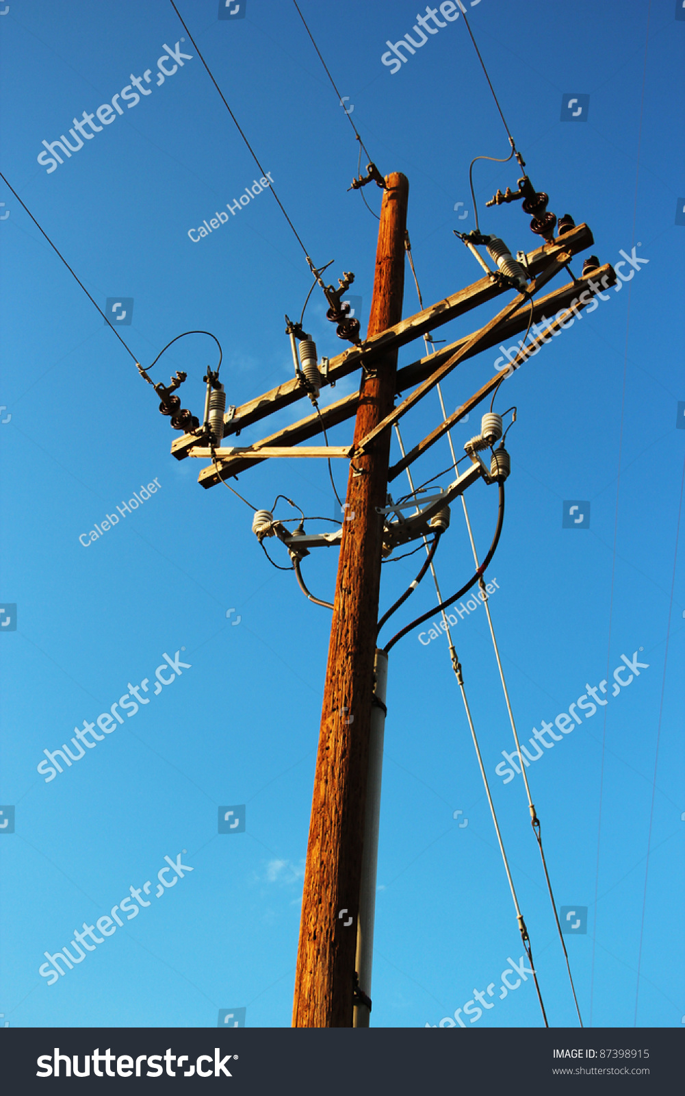 Electric Poles Power Lines : Wooden utility pole power lines stock photo