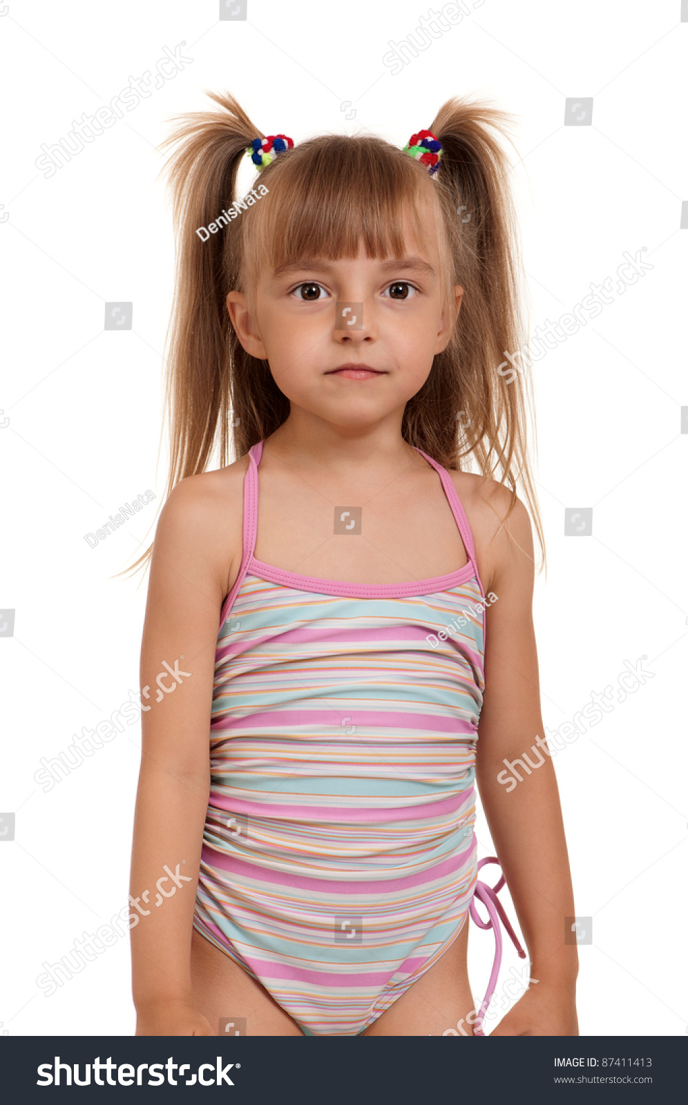 Little Beautiful Girl Wearing Pink Swimsuit Isolated On ...