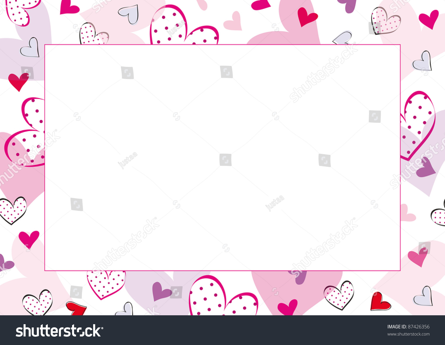 Cute Frame Hearts On Special Day Stock Photo (Photo, Vector ...