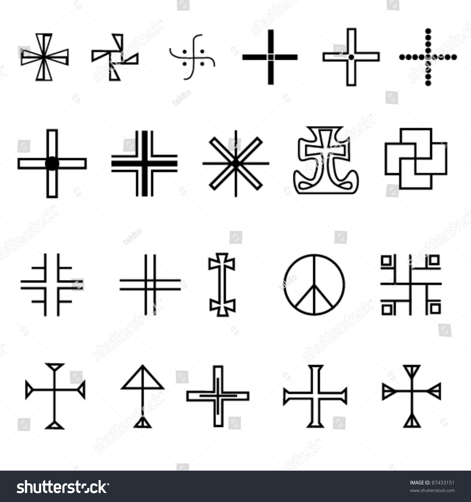 royalty free set of crosses in different styles u2026 87433151 stock