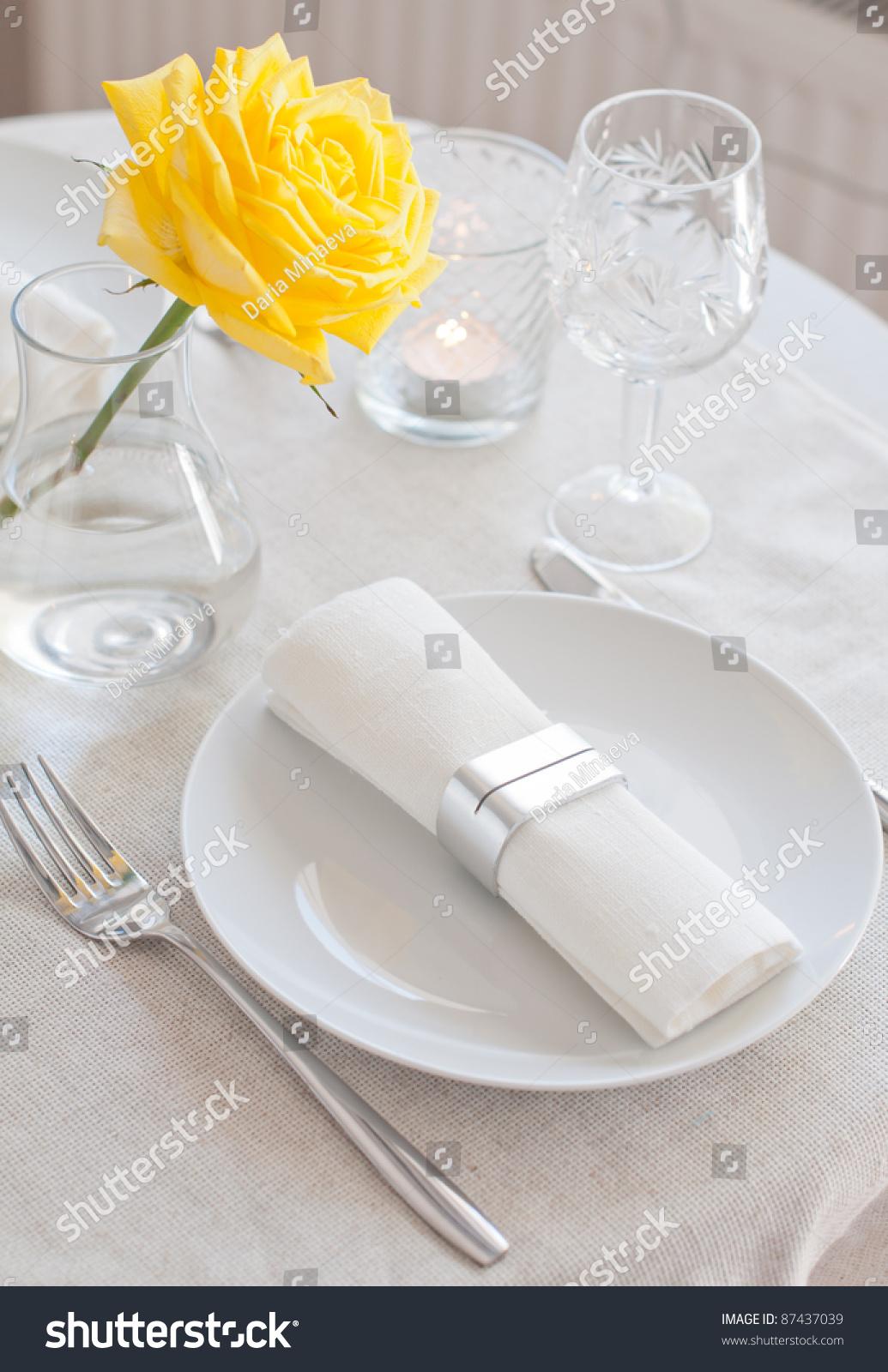 Elegant Dining Table Setting White Cloth Stock Photo Edit Now 87437039