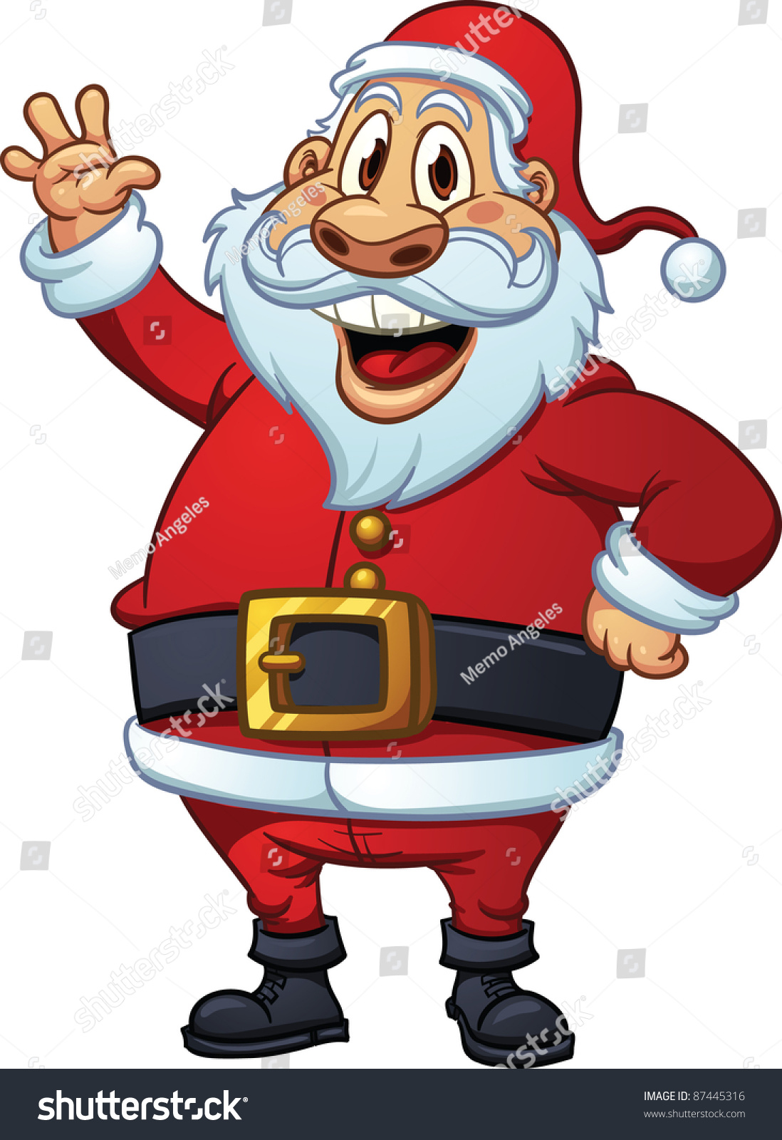 Cute cartoon santa claus waving vector stock