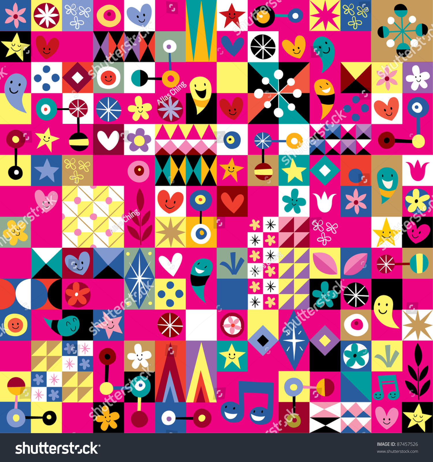 Cute hearts stars and flowers abstract art pattern stock for Cute abstract art