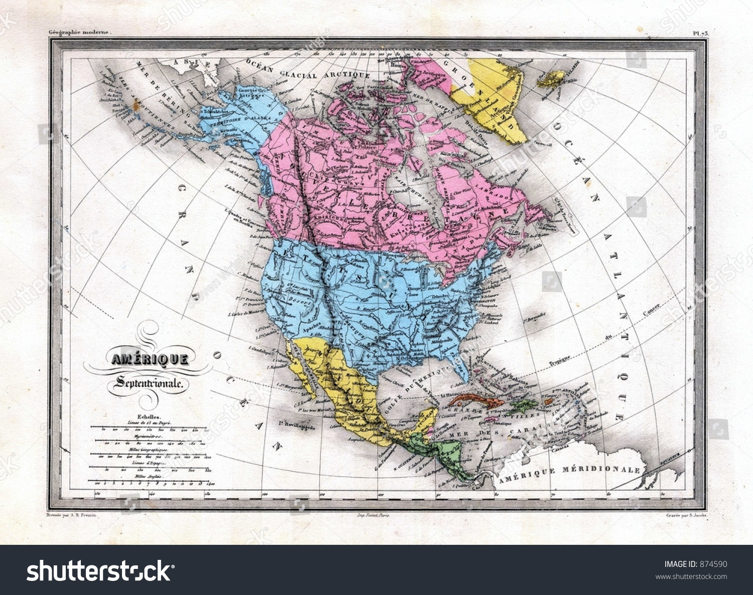 Royalty Free Stock Illustration of Antique 1870 Map North America ...