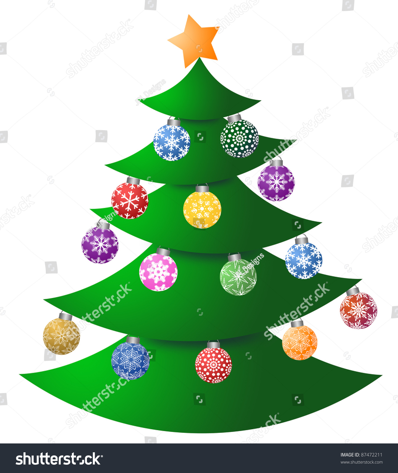 Christmas Tree Colorful Ornaments Tree Topper Stock Illustration ...