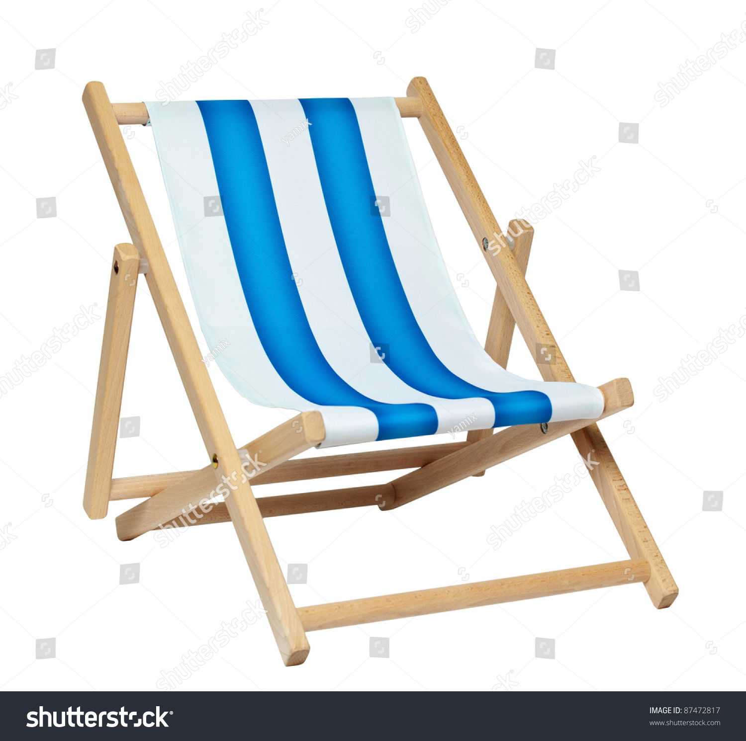 Traditional Deck Chair Isolated Against White Stock