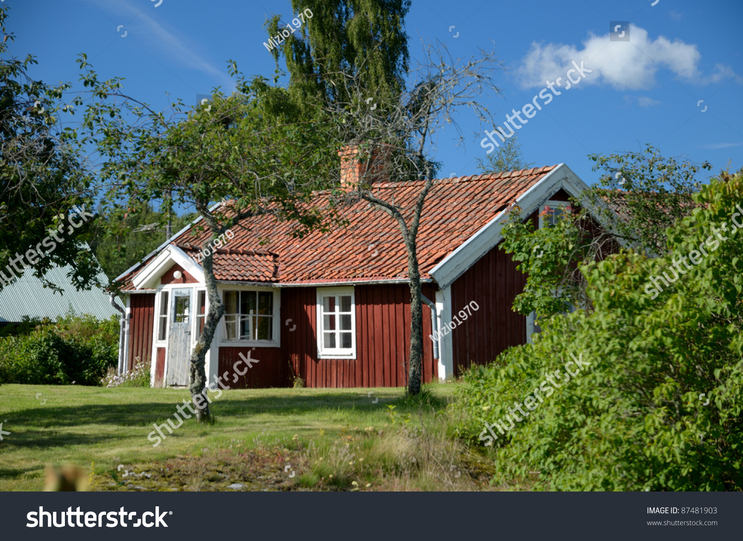 Red cottage sweden stock photo 87481903 shutterstock for Red cottage