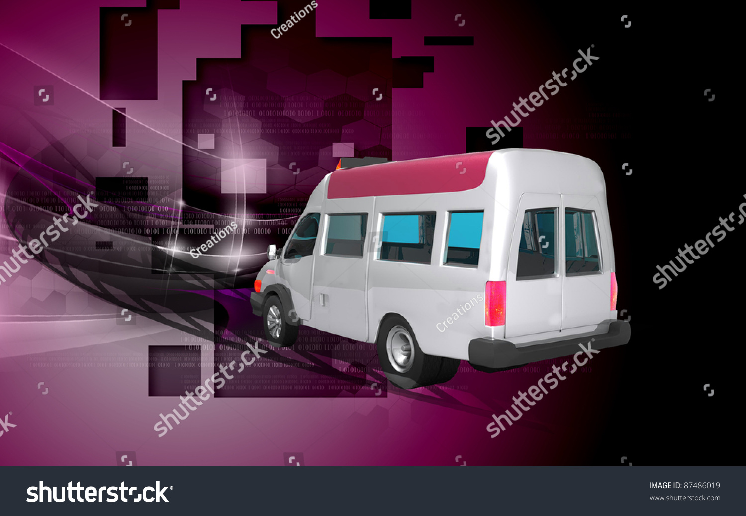 digital illustration ambulance colour background stock illustration 87486019 shutterstock - Ambulance Pictures To Colour
