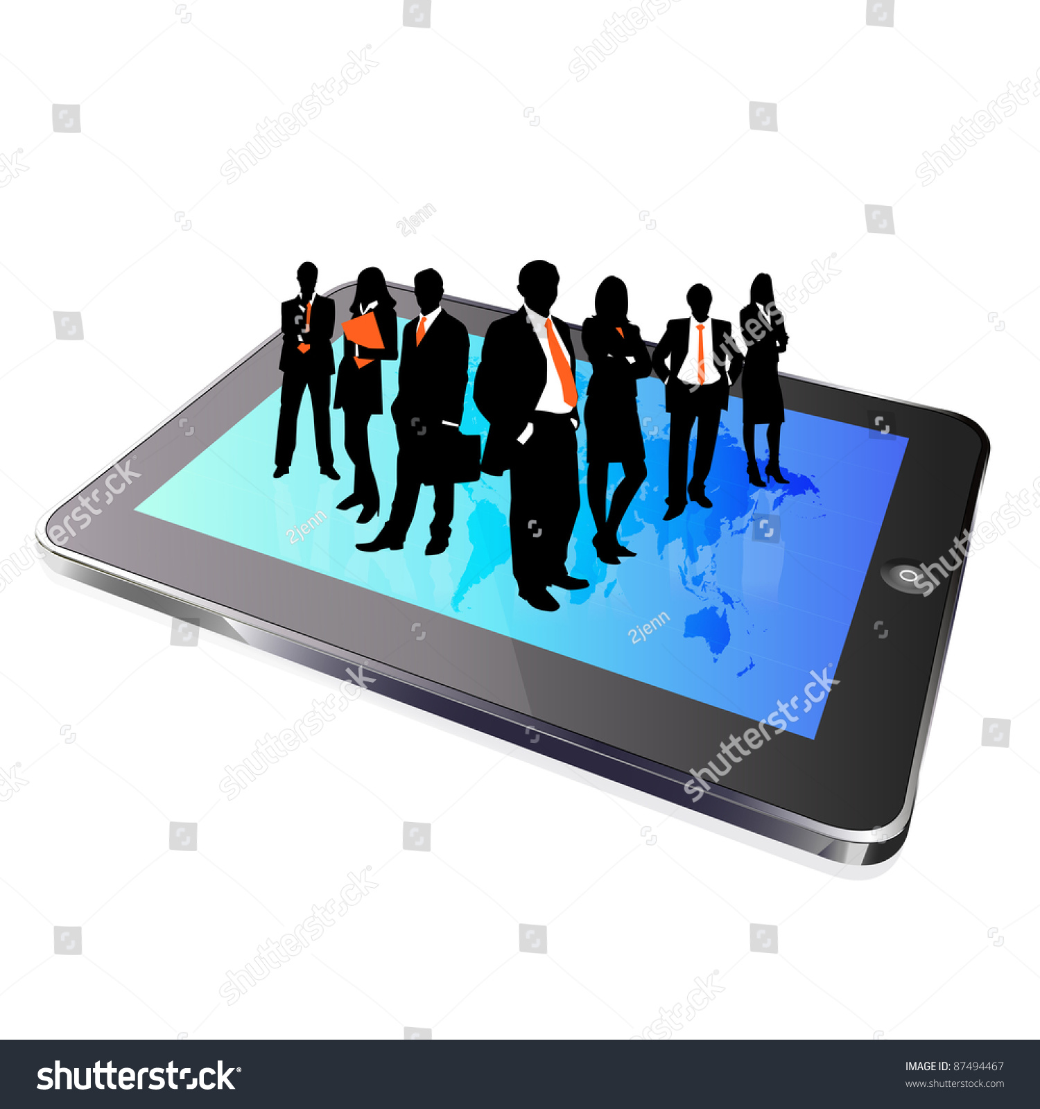 Tablet Business Group Silhouette Stock Photo 87494467 ...