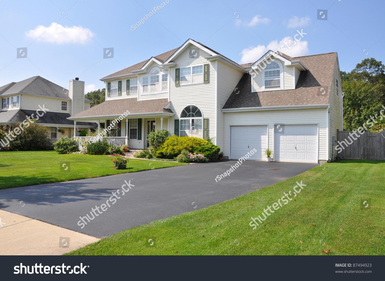 Beautiful Suburban Split Level Mcmansion Home Stock Photo