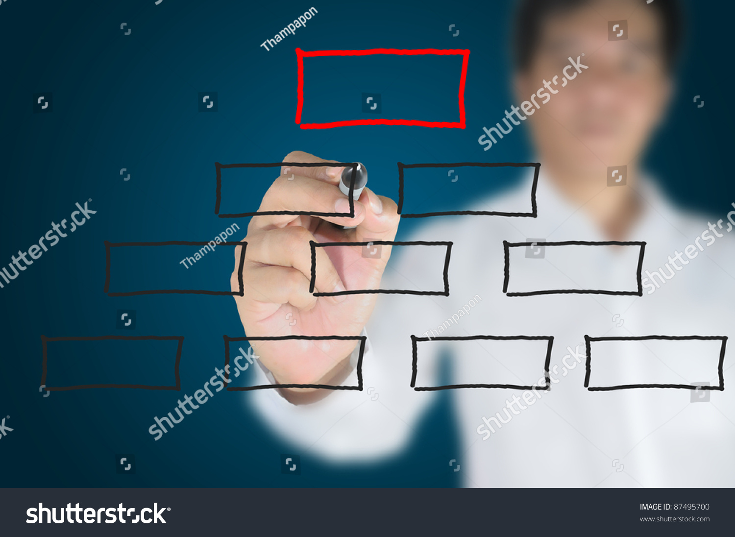 hand business man write blank diagram stock photo (edit now