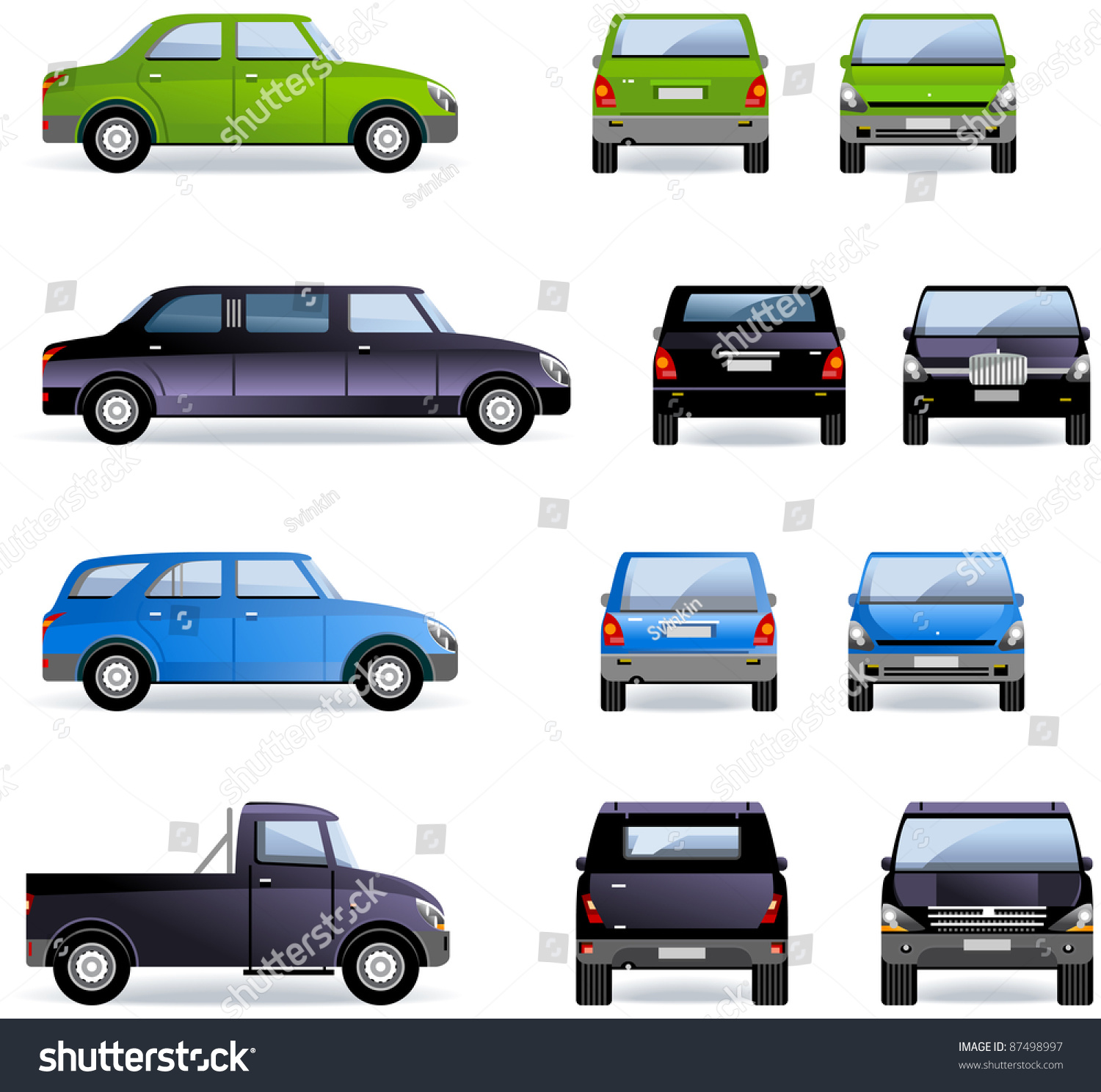 passenger cars part 1 set of the car icons in vector in the side front and back views. Black Bedroom Furniture Sets. Home Design Ideas