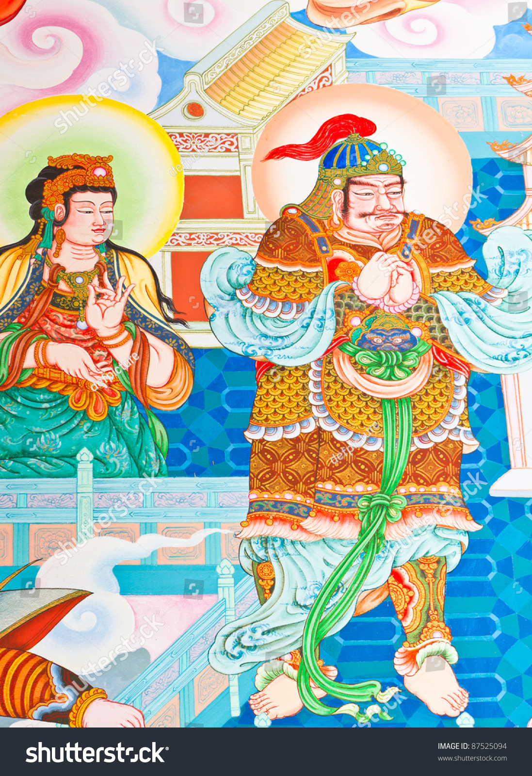 Mural painting traditional chinese temple thailand stock for Chinese mural painting