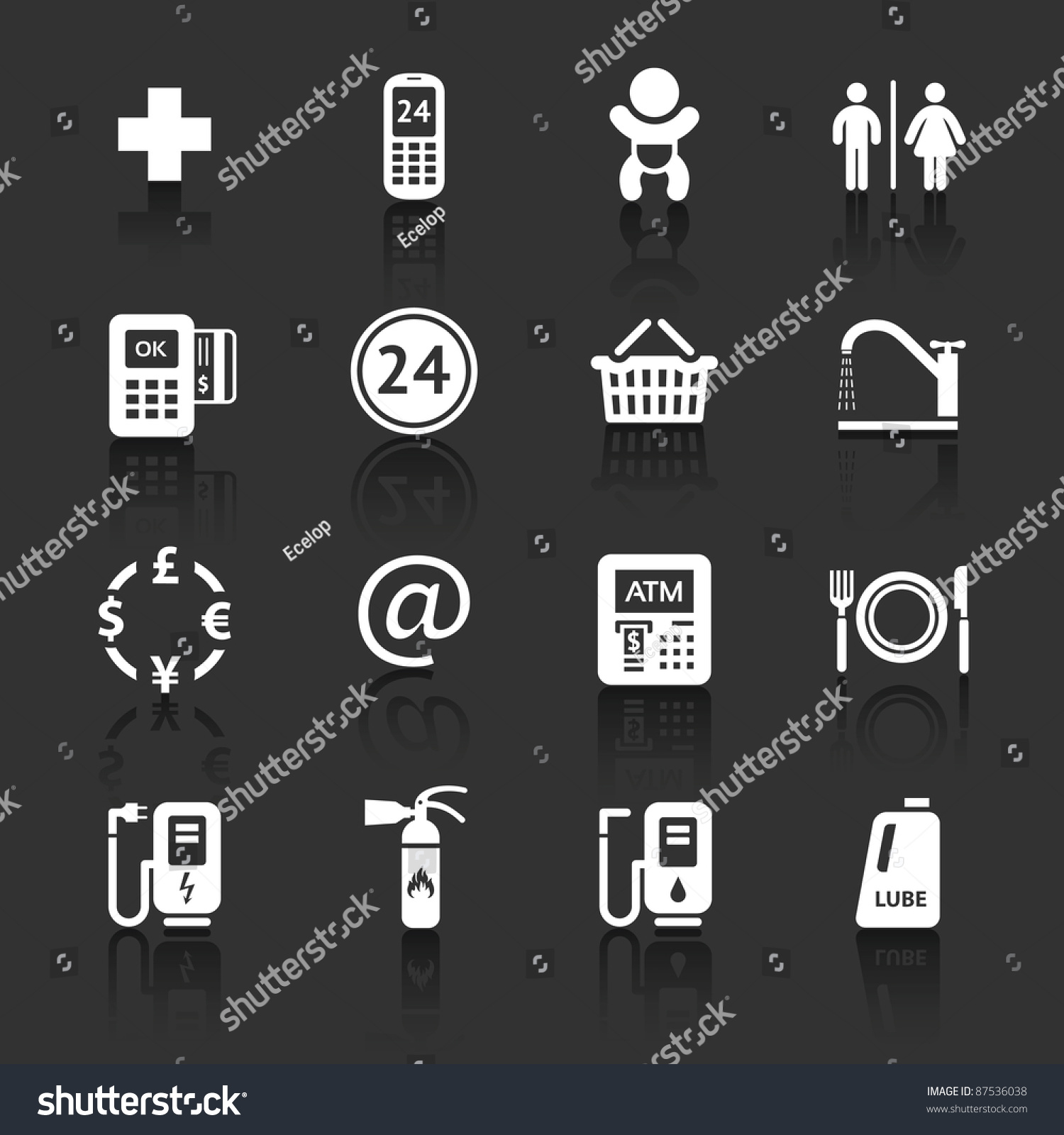 Gas Station Symbols Roadside Services Signs Stock Vector - Car signs and symbols