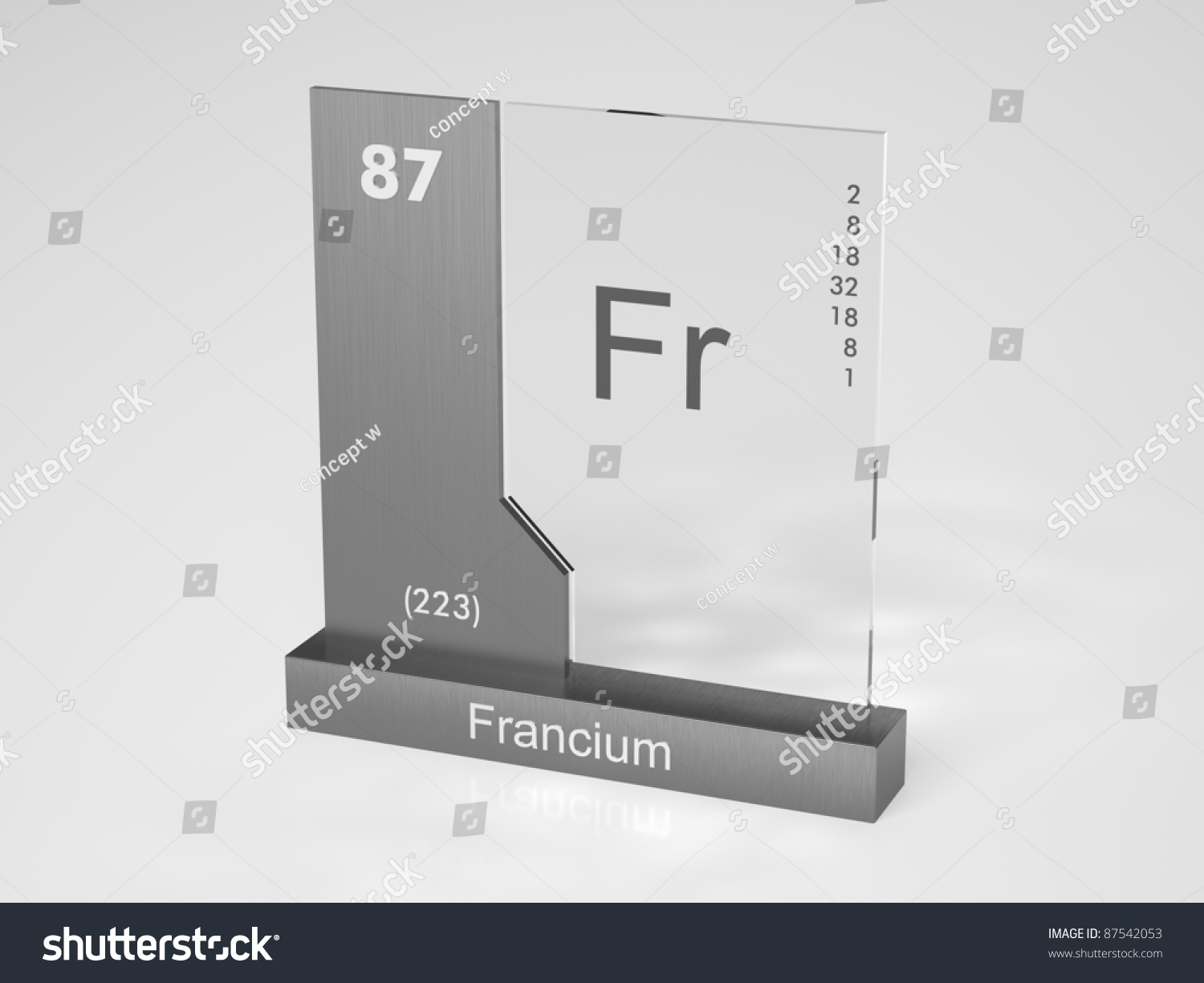 Francium Symbol Fr Chemical Element Periodic Stock Illustration