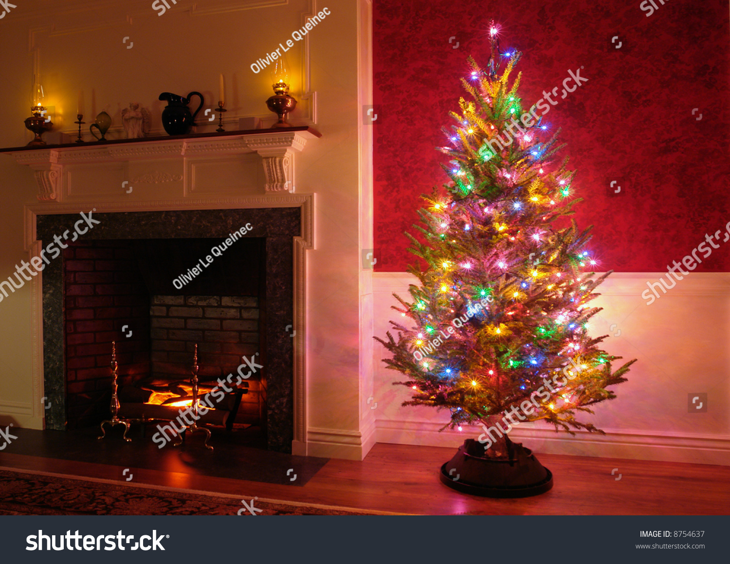 Christmas Tree Vintage Multicolor Lights Old Stock Photo (Edit Now ...