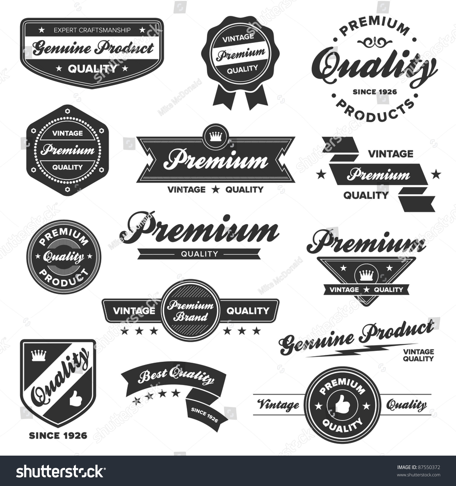 set vintage retro premium quality badges stock vector 87550372