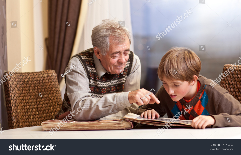 grandfather grandson family album stock photo 87575434