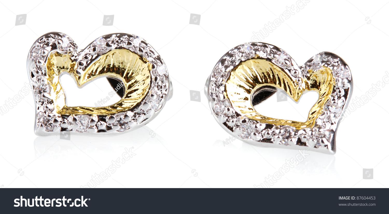 Beautiful Gold Earrings Precious Stones Isolated Stock Photo ...